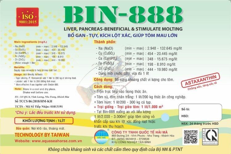 Bin-888 (tinh khoáng, siêu tăng trọng, bổ gan tụy, kích lột, mau cứng vỏ)