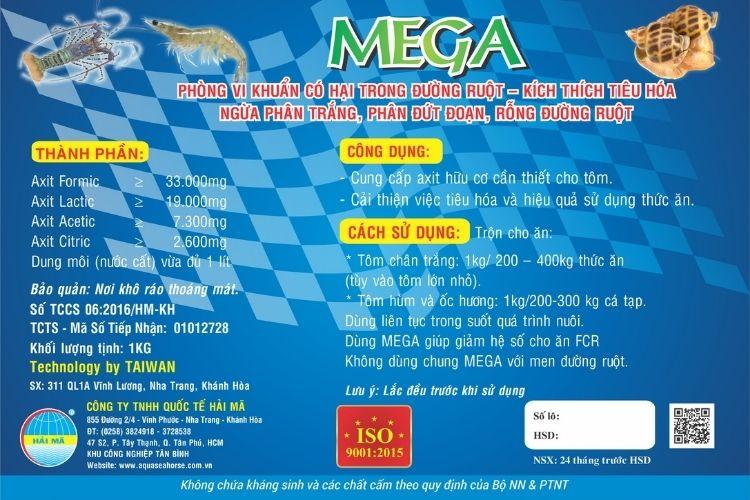 Mega (axit hữu cơ, diệt vi khuẩn có hại trong đường ruột)